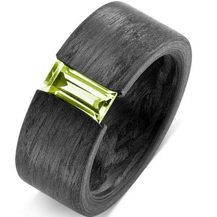 Schwarzer Verlobungsring mit Peridot