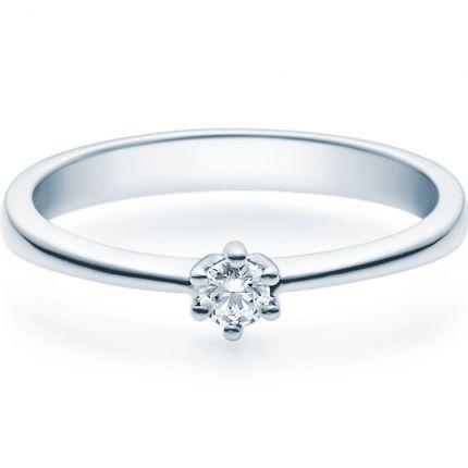 Schöner Verlobungsring aus Platin 950 mit 0,10 ct