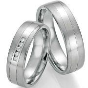 Ringpaar Platin 600 / Titan 5 Brillanten, 6,0 mm breit, matt und glänzend
