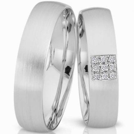 Ringpaar 991380 aus Silber mit 9 Zirkonia