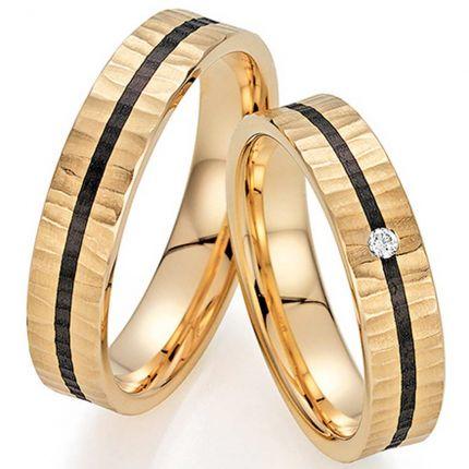 Ringpaar 9988495 aus Roségold mit Hammerschlag und Carbon