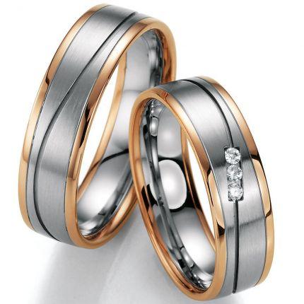 Hochzeitsringe mehrfarbig mit Wellenfuge
