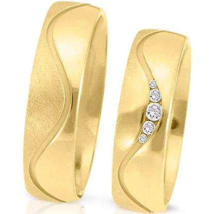 Ringpaar 994110 aus Gelbgold mit tollem Oberflächenmix