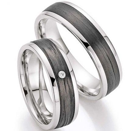 Hochzeitsringe aus Edelstahl mit breitem Carbonband