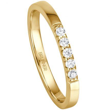 Memoire Verlobungsring mit 5 Brillanten aus Gelbgold