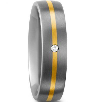 Verlobungsring Titan mit 750 Gelbgold und einem Brillanten