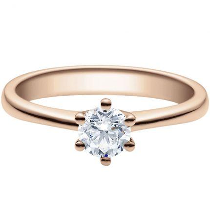 Verlobungsring 9918001 mit 0,5 ct Brillant aus Rotgold in 6er Krappe