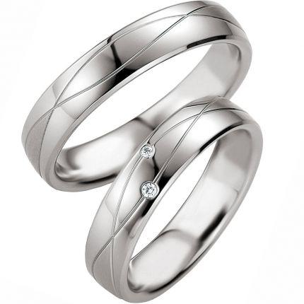Trauringe aus Silber mit Brillanten und Fugen