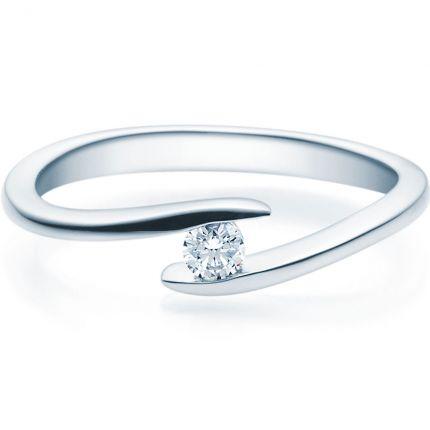 Verschlungener Verlobungsring aus Silber mit Brillant