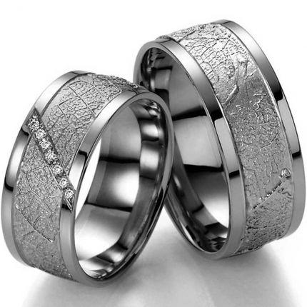 8 mm breite Silberringe mit 7 Brillanten
