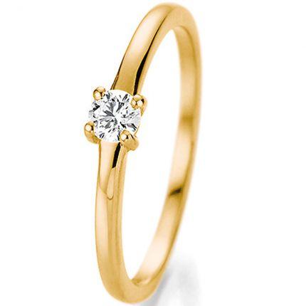 Zeitloser Verlobungsring aus Gelbgold mit 4er Krappe