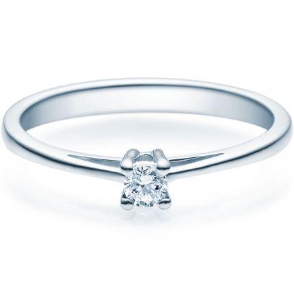 Verlobungsring 9918010 aus Weißgold mit 0,10 ct TW/SI Brillant