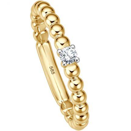 Außergewöhnlicher Ring aus Gelbgold mit 0,05 ct w/si