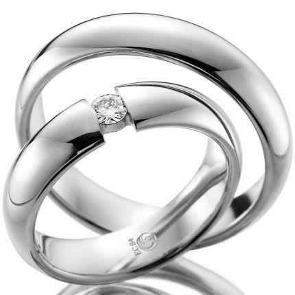 Ringpaar 99RU-1002-1 aus Silber in Spannringoptik
