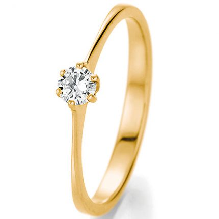 Klassischer Verlobungsring aus Gelbgold mit 0,20 ct Brillant