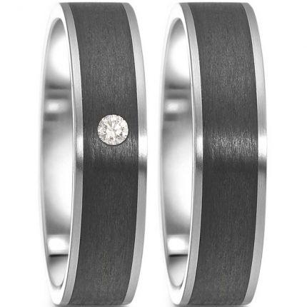 Ringpaar 99063.6314.XX aus Edelstahl mit Carbon und Brillant