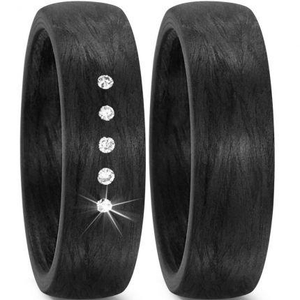 Schwarze Hochzeitsringe aus Carbon mit 5 Brillanten