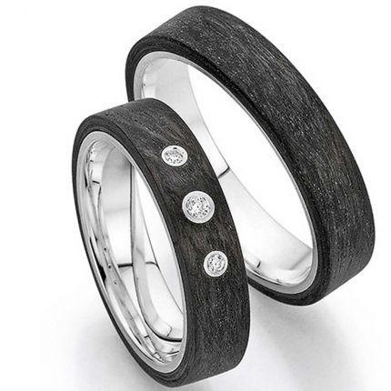 Tolles Ringpaar aus Silber mit Carbon und Brillanten