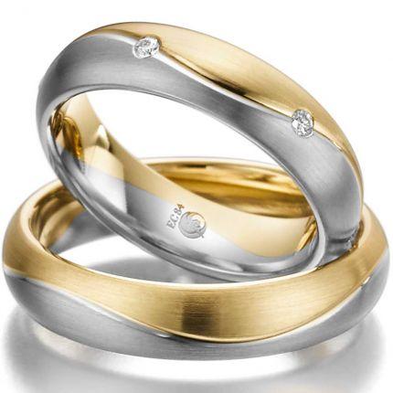 Ringpaar aus Gelbgold mit Weißgold und 6 Brillanten