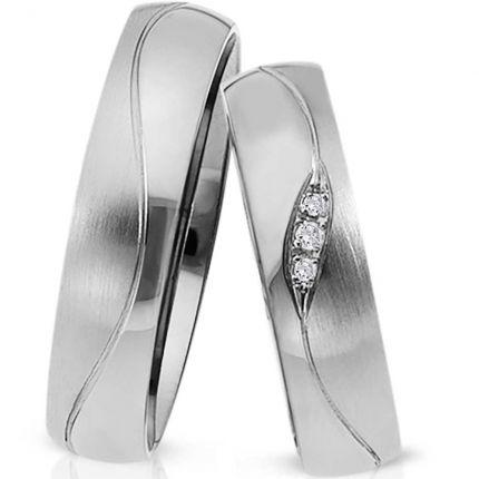 Ringpaar 991112 aus Silber mit Zirkonia und Wellenrille