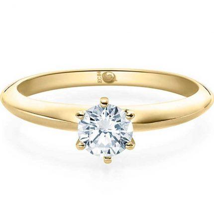 Verlobungsring Gelbgold mit 0,5 ct Diamant und GIA Zertifikat hochlänzend