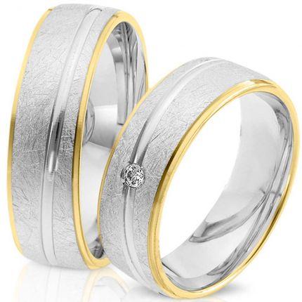 Ringpaar 99233 aus Weißgold und Gelbgold mit eismatter Oberfläche