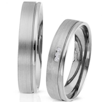Ringpaar 991106 aus Silber mit 3 Zirkonia