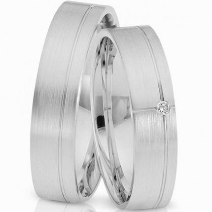 Ringpaar 9957 aus Silber mit längsmatter Oberfläche