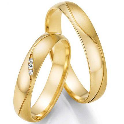 Hochzeitsringe aus Gelbgold mit Brillantverlauf