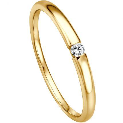 Verlobungsring in Spannringoptik aus 585 Gelbgold