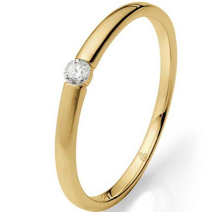 Verlobungsring in Spannringoptik mit 0,06 ct Brillanten aus Gelbgold