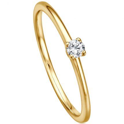 Verlobungsring mit 4er Krappe und 0,09 ct w/si Brillanten aus Gelbgold