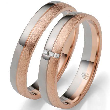 Zweifarbige Ringe aus Weißgold und Roségold mit 3 Brillanten