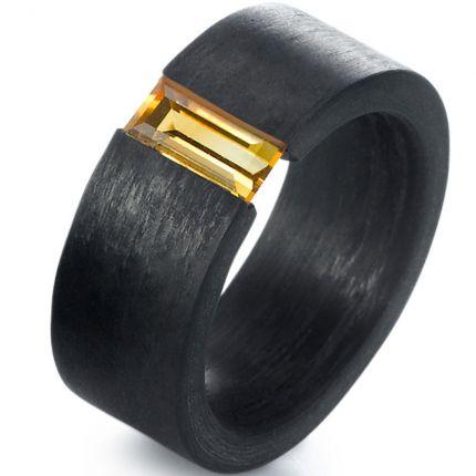 Verlobungsring schwarz mit Citrin