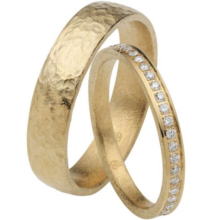 Wunderschönes Ringpaar Herrenring in Schiefer Optik, Damenring mit 45 Brillanten