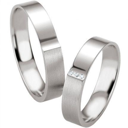Hochzeitsringe aus Silber mit Stufe