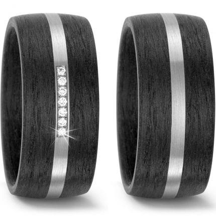 Breite Hochzeitsringe aus Palladium mit Carbon und 7 Brillanten