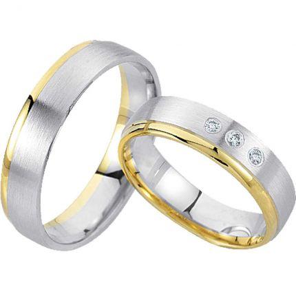 Ringpaar R810 aus Weiß- und Gelbgold