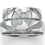 Einzigartige Trauringe mit zwei Herzen aus Silber