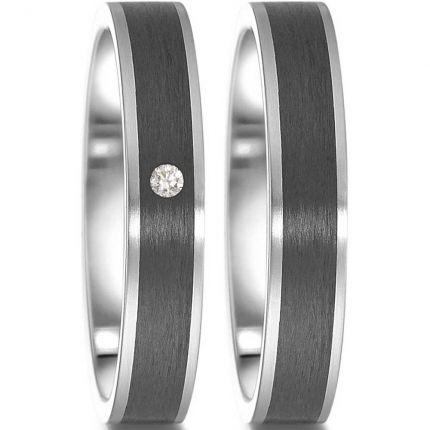 Ringpaar aus Edelstahl mit Carbon und Brillant