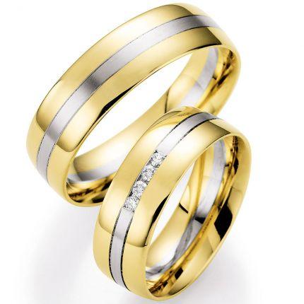 Traumhafte Hochzeitsringe aus Gelbgold mit Weissgoldenem mattiertem Einsatz und Brillanten
