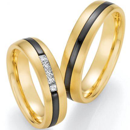 breite Trauringe aus Gelbgold mit Zirkonium und 5 lupenreinen Princess-Cut Diamanten