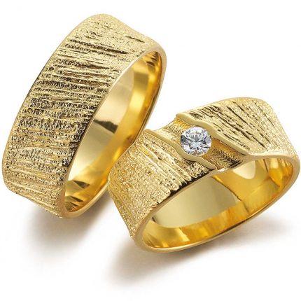 Einzigartiges, von der Natur inspiriertes Ringpaar aus Gold mit lupenreinem Brillant