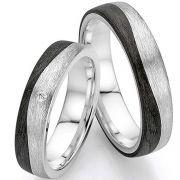 Tolles Ringpaar mit Wellencarbon und Silber