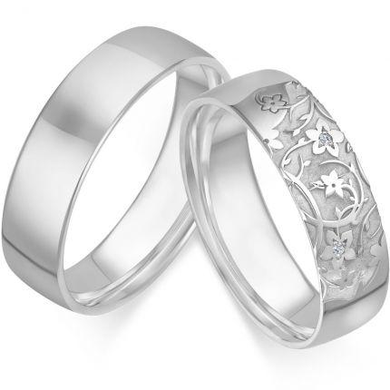 Trauringe / Partnerringe Blumenwiese aus Silber