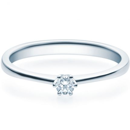 Filigraner Verlobungsring mit 6er Krappe aus Platin 950 und 0,10 ct Brillant