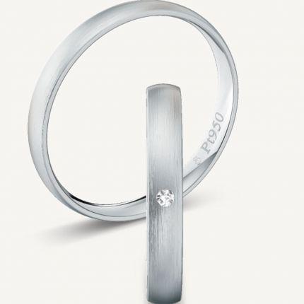 Längsmatte 3,0 mm breite Trauringe aus Platin mit wahlweise Brillant