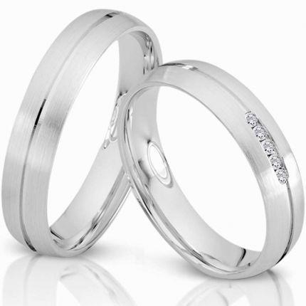 Ringpaar 991698 aus Silber mit 5 Zirkonia im Kanal