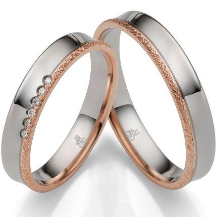 Romantische Ringe aus Weißgold und Roségold mit 6 Brillanten