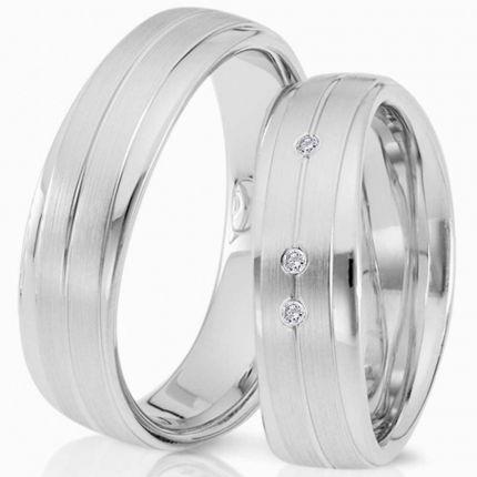 Breite wellenprofil Ringe aus Silber,längsmatt am Rand poliert, wahlweise Brillant oder Zirkonia